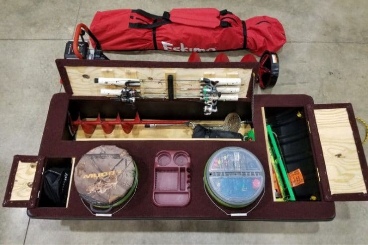 A well organized ice fishing sled.