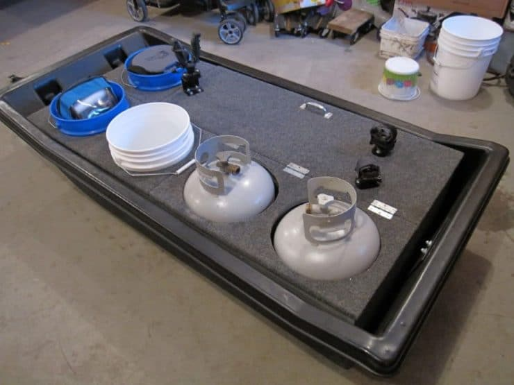 Ice Fishing Sled with Built-in Propane Tank Holders